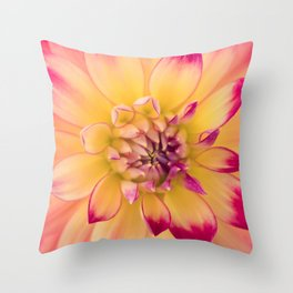 Pink and Yellow Dahlia Throw Pillow