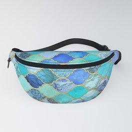 Cobalt Blue, Aqua & Gold Decorative Moroccan Tile Pattern Fanny Pack