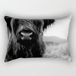 Scottish Highland Cattle Baby - Black and White Animal Photography Rectangular Pillow