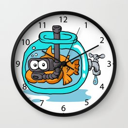 fish with snorkel in the aquarium Wall Clock