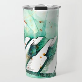 Watercolor Piano (Teal) Travel Mug