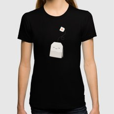 Tea time SMALL Black Womens Fitted Tee