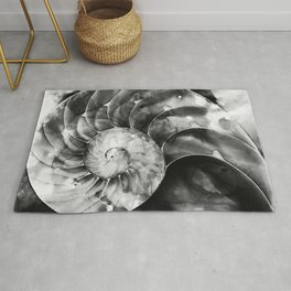 Black And White Nautilus Shell By Sharon Cummings Rug