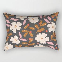 Stella's Garden Floral   Black Rectangular Pillow