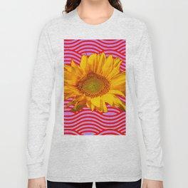 GOLDEN YELLOW SUNFLOWER RED-PURPLE ABSTRACT Long Sleeve T-shirt