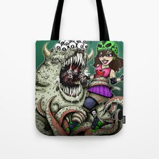 Roller Derby Girl Fighting Monster Tote Bag