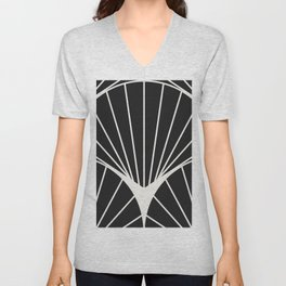 Diamond Series Round Sun Burst White on Black Unisex V-Neck