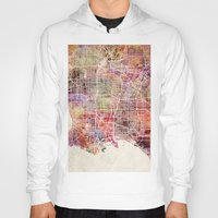 los angeles Hoodies featuring Los angeles by MapMapMaps.Watercolors