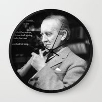 "tolkien Wall Clocks featuring ""All that is Gold does not Glitter""-J.R.R. Tolkien by Fabfari"