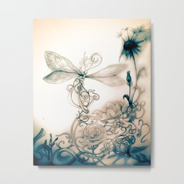Dandylion DragonFly Metal Print