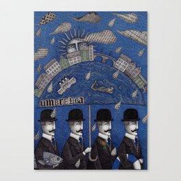 Four Men Waiting Canvas Print