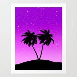 Palm Tree Silhouette Against Twilight Purple with Stars Art Print