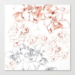Penciled in Floral Canvas Print