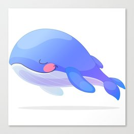 Cute whale. Vector graphic character Canvas Print