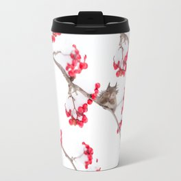 Cute Squirrel With Red Rowan Berries On A White Background #decor #society6 #buyart Metal Travel Mug