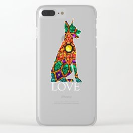 Great Gift For Doberman Lover Stained Love Clear iPhone Case