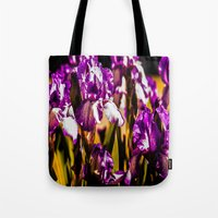 iris Tote Bags featuring Iris by Faded  Photos