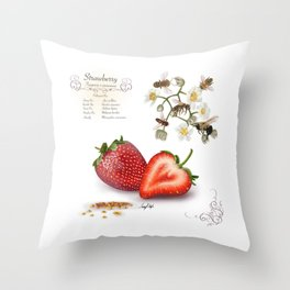 Strawberry and Pollinators Throw Pillow