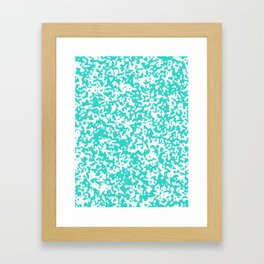 Small Spots - White and Turquoise Framed Art Print