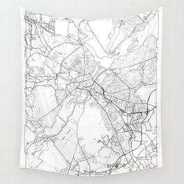 Potsdam Map White Wall Tapestry
