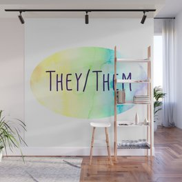 They Them Pronouns (Watercolor Rainbow) Wall Mural