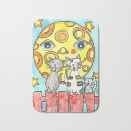 Singing Cats on the Fence Bath Mat