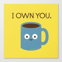 breakfast Canvas Prints featuring Coffee Talk by David Olenick