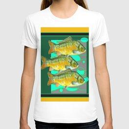 MODERN ART GREEN & OCHER DECORATIVE THREE FISH T-shirt