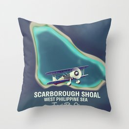 Scarborough Shoal map poster. Throw Pillow