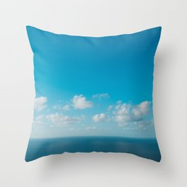 blue sky above ocean panorama with white clouds Throw Pillow