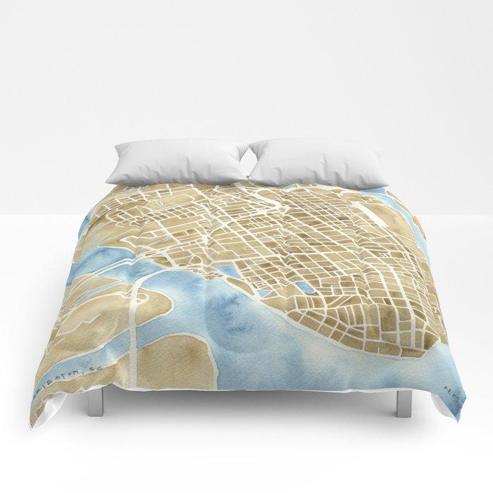 Charleston, South Carolina City Map Art Print Comforters