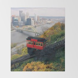 An Autumn Day on the Duquesne Incline in Pittsburgh, Pennsylvania Throw Blanket