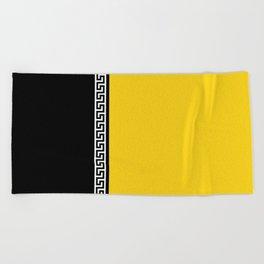 Greek Key 2 - Yellow and Black Beach Towel