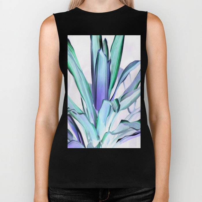 Periwinkle Lavender Seafoam Aloe Leaves Abstract Biker Tank