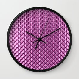 Gleaming Pink Metal Scalloped Scale Pattern Wall Clock