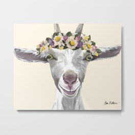 Goat Painting, Flower Crown Animal Metal Print