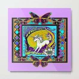 Nouveau Unicorn & Butterfly Western Abstract Design Metal Print