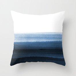 Navy Blue Watercolor Ombre Throw Pillow