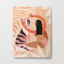 The Fearless Hug - Girl and Tiger  Metal Print