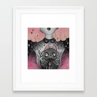 black cat Framed Art Prints featuring Black Cat by lOll3