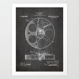Film Reel Patent - Classic Cinema Art - Black Chalkboard Art Print