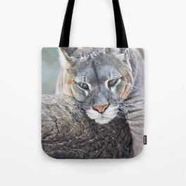 Just Chillin - Cougar Painting by Alan M Hunt Tote Bag