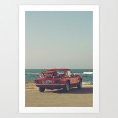 Red Supercar, classic car, triumph, spitfire, color photo, interior design, old car, auto Art Print