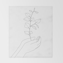 Minimal Hand Holding the Branch II Throw Blanket