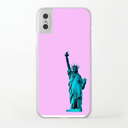 Blue Statue of Liberty on Pink Clear iPhone Case