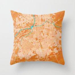 Culiacán, Sinaloa, Mexico, Gold, Blue, City, Map Throw Pillow