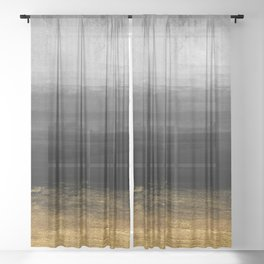 Black and Gold grunge stripes on modern grey concrete abstract background - Stripe -Striped Sheer Curtain