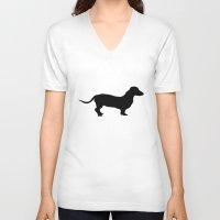 dachshund V-neck T-shirts featuring Dachshund by DustinSingler