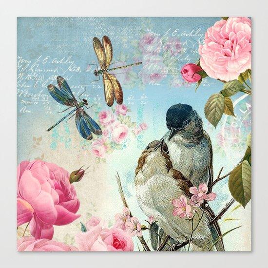 Dragonflies & bird Canvas Print