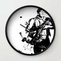 daryl dixon Wall Clocks featuring Daryl Dixon by Black And White Store